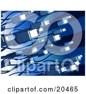 Clipart Illustration Of Black Electronic Computer Hardware Firewire Cables Over A Blue Techno Background