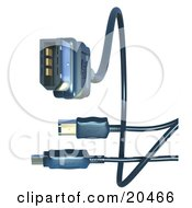 Clipart Illustration Of Black Electronic Computer Hardware FireWire Cables Over A White Background