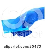 Blue Glass Futuristic Hand Holding A Blank Business Card Over A White Background
