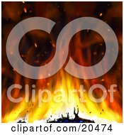 Clipart Illustration Of A Red And Orange Flames Burning Items And Tossing Hot Particles Into The Air