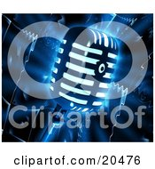 Poster, Art Print Of Glowing Retro Microphone Over A Dark Liquifying Speaker Background