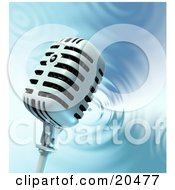 Clipart Illustration Of A Retro Microphone Over A Rippling Water Background