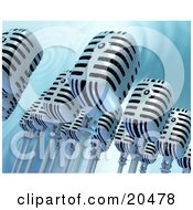 Clipart Illustration Of A Group Of Retro Microphones Over A Rippling Water Background
