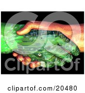 Poster, Art Print Of Two Circuit Robot Hands One Tan One Green Shaking Hands