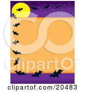 Clipart Illustration Of Silhouetted Vampire Bats Flying Around A Stationery Border Background With An Orange Center And A Purple Night Starry Sky With A Full Moon