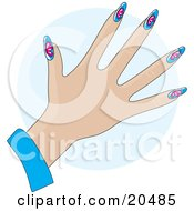 Clipart Illustration Of A Womans Hand With Gel Fingernails With Pink Butterflies Over Blue Over A Blue Circle by Maria Bell