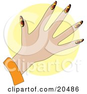 Clipart Illustration Of A Womans Hand With Acrylic Flame Design Fingernails After A Manicure Over A Yellow Circle by Maria Bell