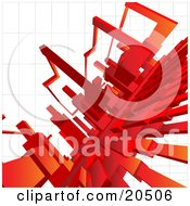 Clipart Illustration Of A Background Of Red Shapes Connecting Over A White Grid