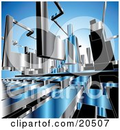 Clipart Illustration Of A Background Of Chrome Machine Parts Over Blue by Tonis Pan