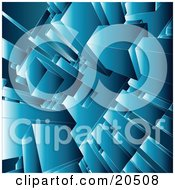 Clipart Illustration Of A Background Of Blue Squares Rectangles And Blocks Stacking