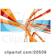 Clipart Illustration Of A Background Of Orange Flat Pipes Winding Curving And Tangling Over A Blue And White Background