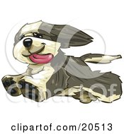 Clipart Illustration Of A Happy Bearded Collie Dog Running Freely His Tongue Hanging Out After Leaping Over The Fence In His Yard by Tonis Pan #COLLC20513-0042