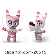 Clipart Illustration Of Two Pink Toy Cartoon Dogs Holding Their Arms Out And Making Funny Faces