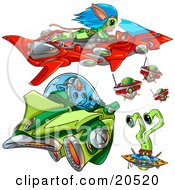 Clipart Illustration Of Aliens Flying Spacecraft And Ufos In Outer Space
