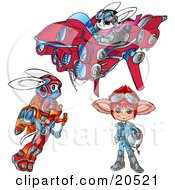 Clipart Illustration Of Three Rabbit Like Aliens One Flying In A Suit One Standing With A Helmet And One Flying A UFO