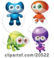 Four Baby Aliens One In A Diaper Over A White Background by Tonis Pan