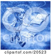 Clipart Illustration Of A Boy Surrounded By Magic Dust Reading Books by Tonis Pan