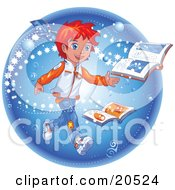 Red Haired Manga Boy Reading A Magic Book As Stars Emerge From The Pages