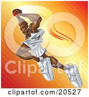 Clipart Illustration Of An Aggressive African American Basketball Player Flying Through The Air To Make A Slam Dunk