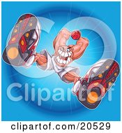 Clipart Illustration Of A Mean Caucasian Basketball Player Preparing To Slam The Ball On The Court As Seen From Below by Tonis Pan