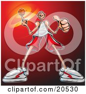 Poster, Art Print Of Skinny Basketball Player Guy Spinning The Ball On The Tip Of His Finger