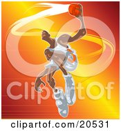 Clipart Illustration Of A Jumping Basketball Player Holding The Ball Out To The Hoop