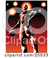Clipart Illustration Of A Pro Basketball Player Standing Proudly On The Court With The Ball In His Hand by Tonis Pan