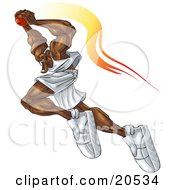 Ferocious Basketball Player Flying Through The Air With The Ball Over His Head About To Make A Slam Dunk During A Game