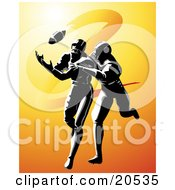 Clipart Illustration Of A Football Player Being Tackled While Running To Catch A Ball by Tonis Pan