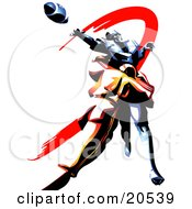 Clipart Illustration Of A Football Player Reaching Out To Catch A Ball While Being Tackled By An Opponent by Tonis Pan