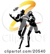 Clipart Illustration Of A Footballer Running To Catch A Ball While Being Tackled During An American Football Game