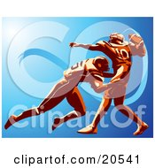 Clipart Illustration Of An American Football Player Trying To Throw A Ball While Being Tackled By His Opponent by Tonis Pan