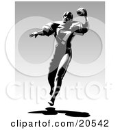 Poster, Art Print Of Football Player Throwing A Ball And Running During A Game