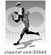Clipart Illustration Of A Football Athlete Rushing To Catch A Ball During A Game