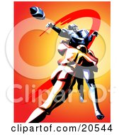 Clipart Illustration Of An American Football Player Tackling An Opponent As He Reaches Out To Catch The Ball During A Game
