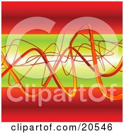 Clipart Illustration Of Wavy Orange Wires Tangling And Winding Over A Green And Red Background by Tonis Pan