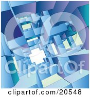 Clipart Illustration Of A Background Of Blue Green And Purple Cubes Creating An Open Passage #20548 by Tonis Pan