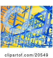 Clipart Illustration Of Blue Wires Connecting Together To Make Complex Shapes Over An Orange Background