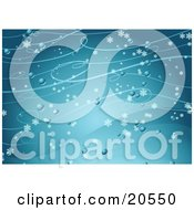 Clipart Illustration Of A Background Of Snowflakes Flying Past In A Wintry Breeze