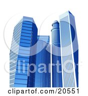 Clipart Illustration Of Tall Blue Glass Mirror Skyscraper Buildings Over A White Background by Tonis Pan