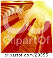 Clipart Illustration Of An Upwards View Of Tall Glass Skycraper Buildings In A City A Sunburst In The Corner by Tonis Pan