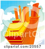 Clipart Illustration Of Tall Orange City Skyscrapers Up High In The Clouds