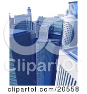 Clipart Illustration Of A Cluster Of Blue Highrise Buildings In The Business District Of A City by Tonis Pan