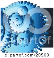 Clipart Illustration Of A Group Of Blue Cogs And Gears At Work Over A Dark Blue Background With Grids