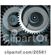 Clipart Illustration Of Metallic Mechanical Gears Spinning Over A Dark Background Symbolizing Teamwork