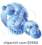 Clipart Illustration Of Blue Gears And Cogs Spinning Over A White Background Symbolizing Teamwork by Tonis Pan