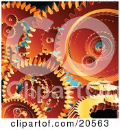 Clipart Illustration Of A Background Of Orange Gears Crowded Into A Machine