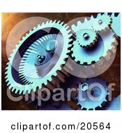 Clipart Illustration Of Tough Mechanical Gears Hard At Work Spinning Over A Textured Background
