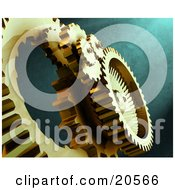 Clipart Illustration Of Golden Gears At Work Over A Textured Green Background