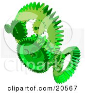 Clipart Illustration Of Green Cogs And Gears Working Together Over A White Background With A Grid by Tonis Pan